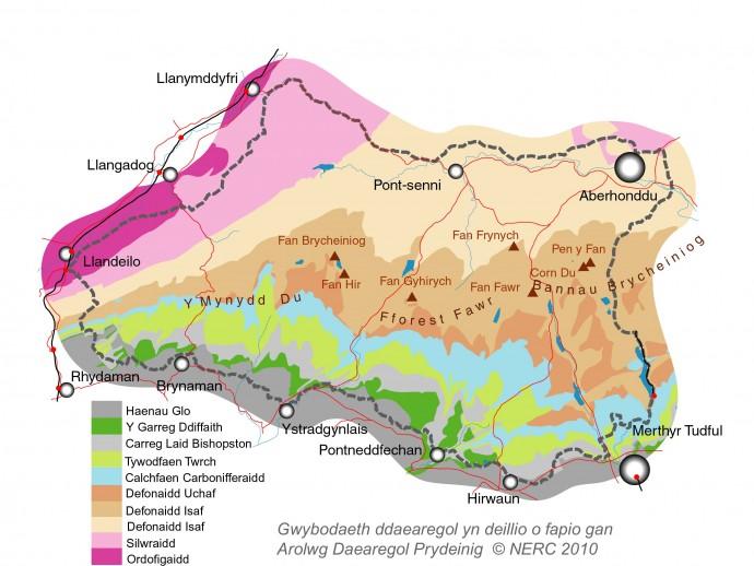 Map daearegol o Geoparc
