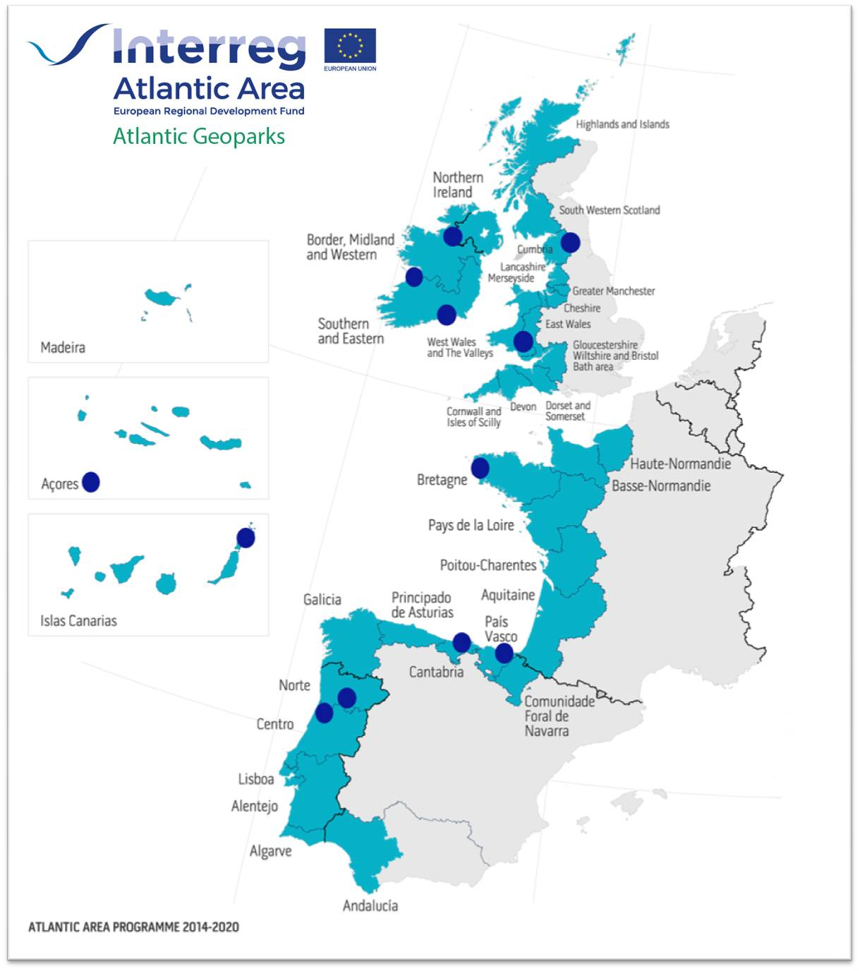 Atlantic Geoparks map